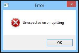 unknown error: Quitting